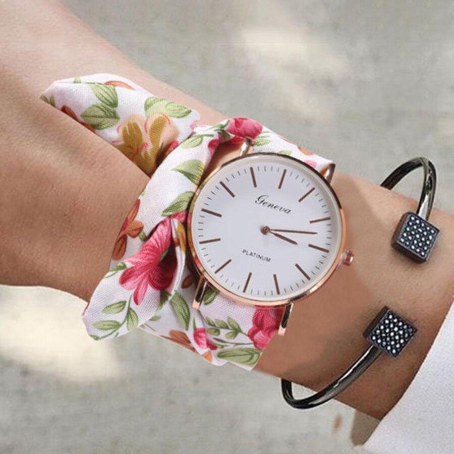 Women Watches Zegarek Damski Vogue Floral Strap Wristwatch Women's Jacquard Cloth Quartz Watch Dress