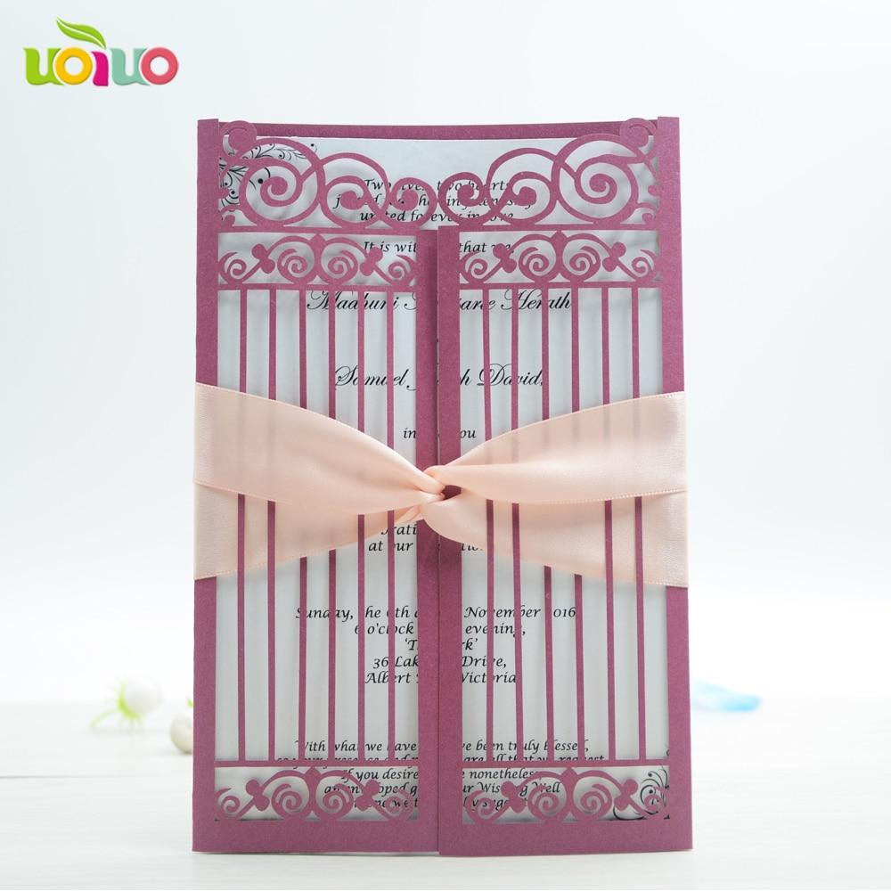 Envío Gratis 50set inc145 Borgoña/vino decorativo rojo boda, elemento tradicional chino/estilo puerta Tarjeta De Invitación De Boda
