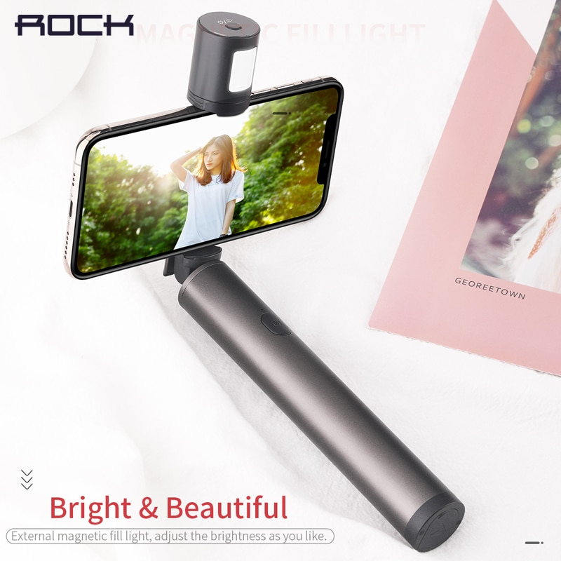 Palo de Selfie Universal de roca palo de Selfie plegable Mini extensible Luz de relleno Selfie palo para iPhone XS Samsung note 9 Xiaomi mix 3