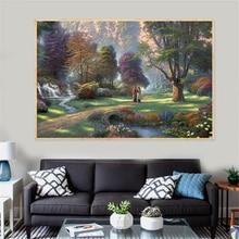 Peinture à lhuile sur toile tableau artistique   Forêt, parc, arbre, route, abstrait, peinture à lhuile sur toile, photos murales, chambre à coucher, salle de bain, décoation Cuadros