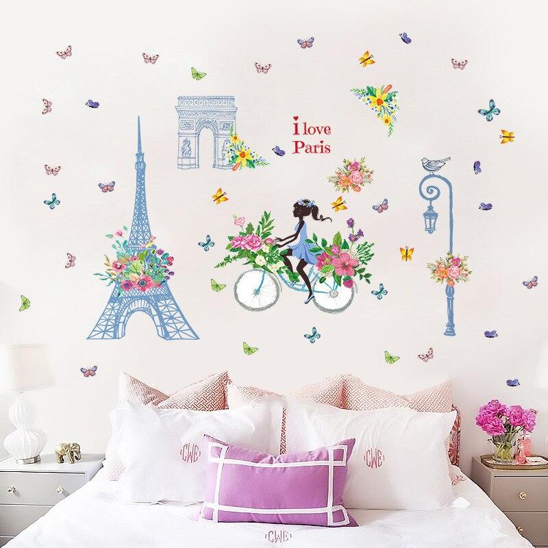 Большие настенные Стикеры для девочек с синими башнями, домашний декор, наклейка для гостиной, сделай сам, художественные обои, Съемный Настенный стикер