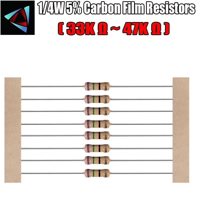 100pcs 1/4W 5% Resistor Carbon Film 33K 36K 39K 43K 47K ohm
