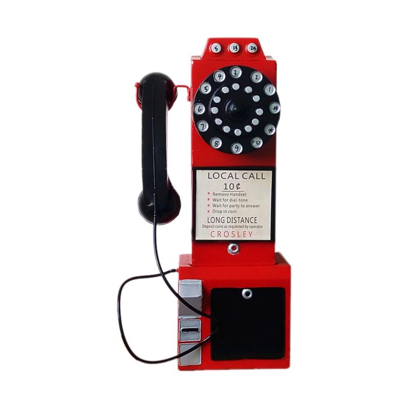 Nuevos adornos de hierro viejo teléfono antiguo modelo europeo Retro teléfono miniatura decoración del hogar colgante de pared artesanía de juguete regalos