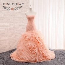 Subiu Moda Blush Pêssego Vestido De Noiva Trompete 3D Rodou Organza Sereia Vestidos de Casamento Plus Size Real Fotos
