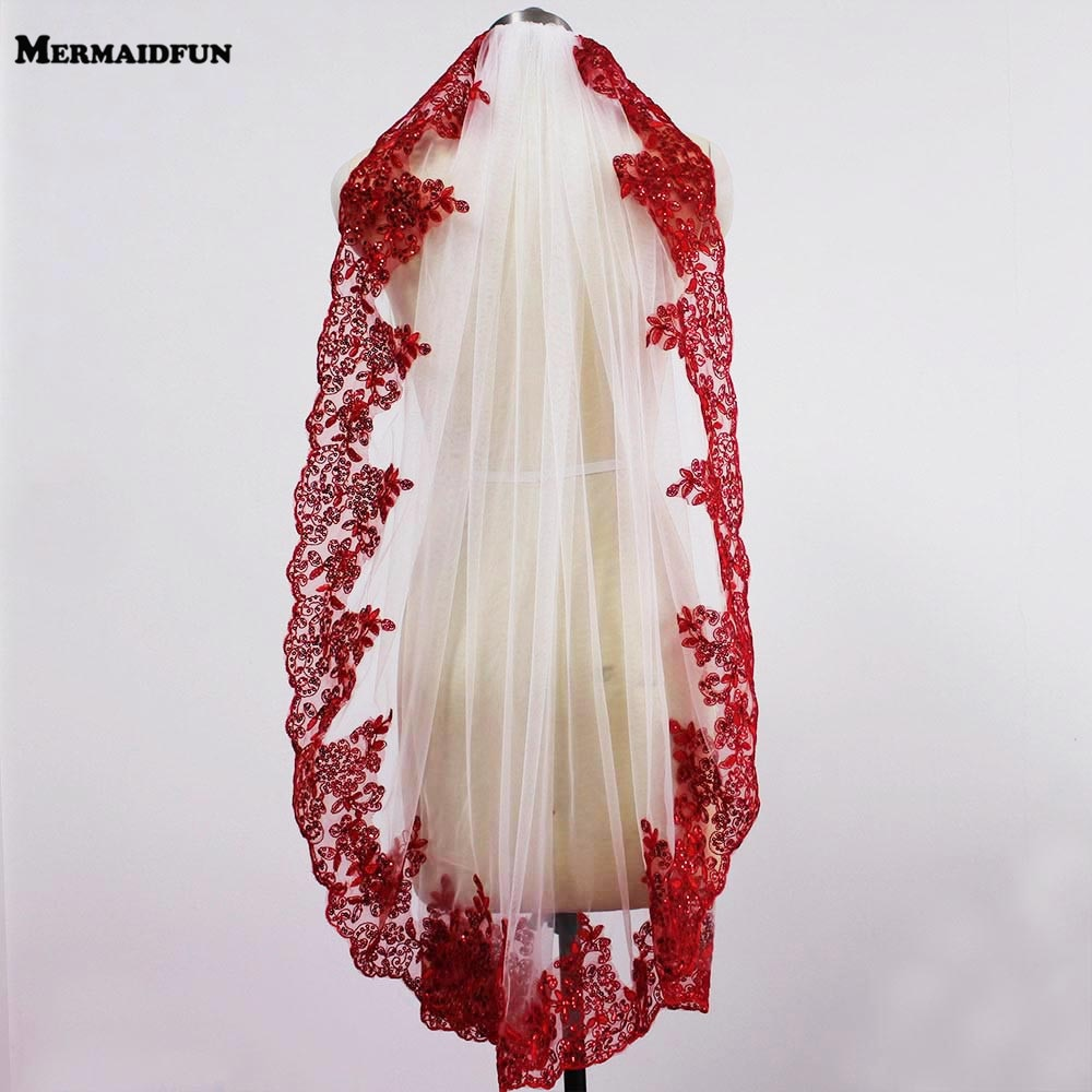 Fotos reales rojo corto de encaje capa blanco marfil tul velo de boda con peine Bling lentejuelas de encaje de novia velo hervir Mariage