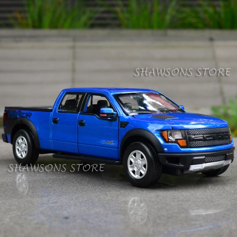 1:34 Diecast Metal Car Model Toys for Ford F150 Raptor Pickup Truck Replica Pull Back Sound & Light