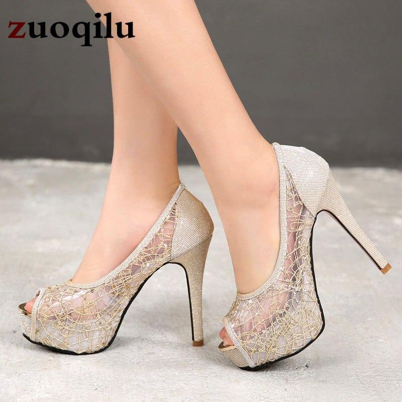 Peep Toe Platform heels Gold Silver wedding shoes women pumps high heel women shoes talon femme ladies shoe