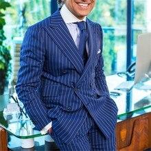 Été bleu marine rayure hommes costume pour affaires formel hommes Blazers Double boutonnage costumes large pointe revers mince coupe hommes veste