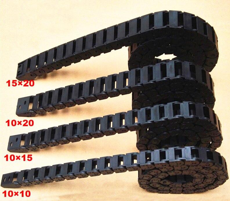 Tipo de puente interior de plástico tamaño 10x10x10mm x 15mm cadena de arrastre con conectores L 1000mm máquina de grabado máquina de cable para el router CNC