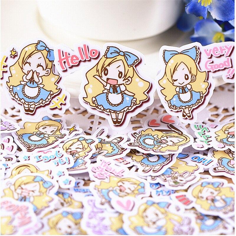 Pegatinas álbum de recortes chica Alice 40 Uds. Creativo y bonito hecho a mano, pegatina decorativa, álbumes de fotos DIY a prueba de agua