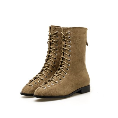 2018 Otoño e Invierno cordones medio bota cabeza redonda cremallera trasera gamuza retro tacón bajo botas de caballero zapatos de mujer