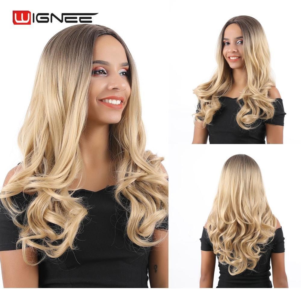 Peluca de pelo sintético Rubio degradado largo ondulado de parte media Wignee para Mujeres Negras/blancas pelucas naturales resistentes al calor para uso diario/pelucas de fibra de fiesta