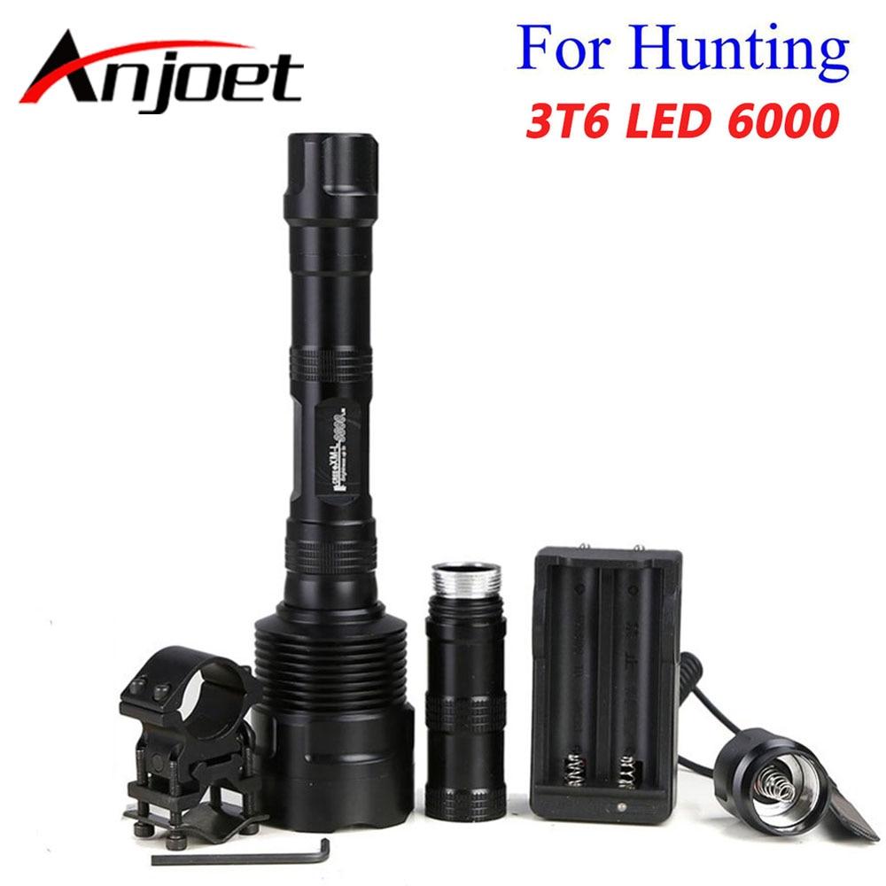 Anjoet 6000 لومينز السوبر مشرق 3x XM-L T6 LED الصيد مضيا الفانوس 3T6 مصباح شعلة مفتاح لمبة + بندقية جبل + 18650 شاحن