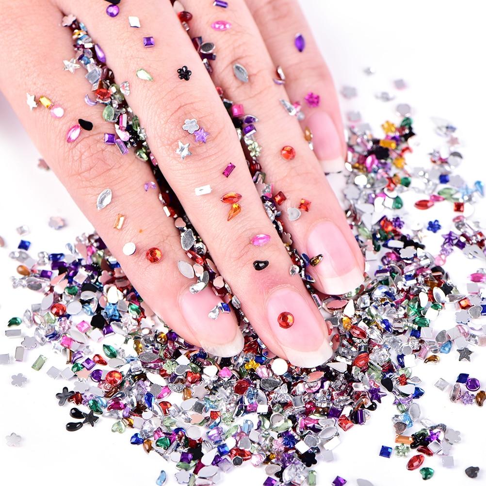 2000 Uds mezcla 3D acrílico arte de uñas Consejos de diamantes de imitación de cristal bricolaje Decoración