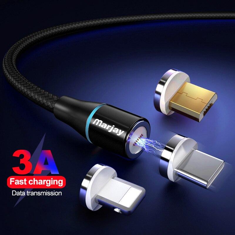 Marjay Magnetische Kabel 2 M 3A Quick charge 3,0 Micro USB Typ C Kabel Für iphone X Xs Max Samsung xiaomi Magnet Schnelle Ladegerät Kabel