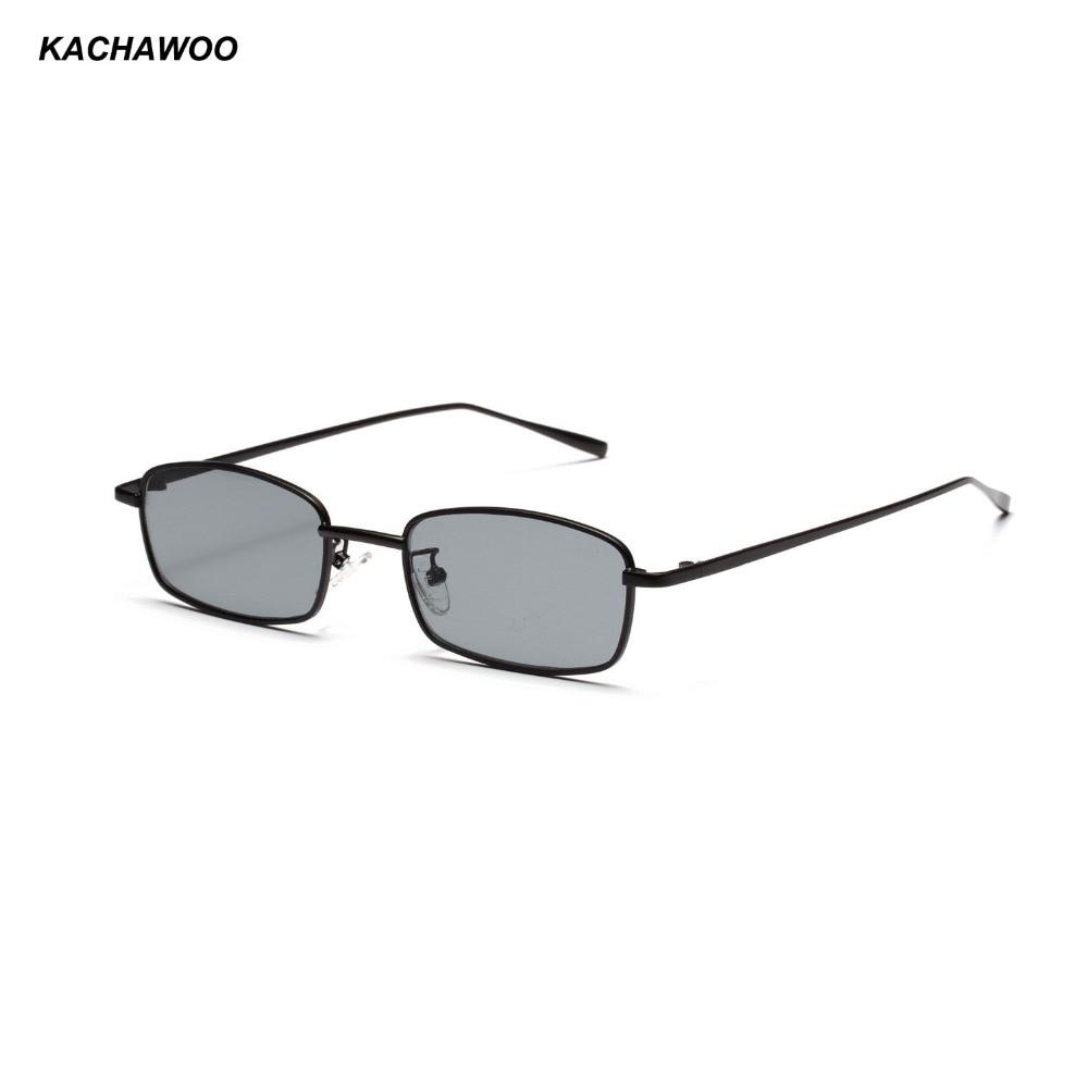 Kachawoo rectangular fashion sunglasses men retro metal frame black men small sun glasses women summer beach 2018 UV400