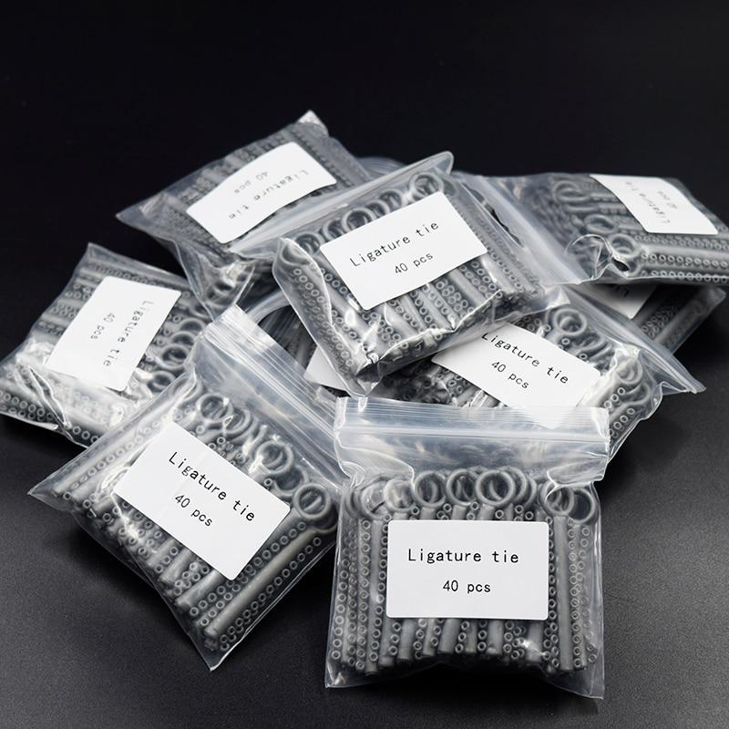 10 Packs (10400 Pcs) Dental Orthodontic Ligature Ties Braces Elastic Rubber Bands Grey/Metal Silver (36 Colors)