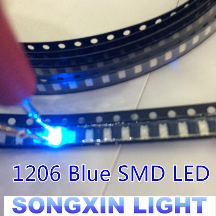 100 pces 1206 diodo emissor de luz azul super brilhante smd diodos 3.2*1.6*0.8mm 460-470nm diodos emissores de luz smd 1206 led azul