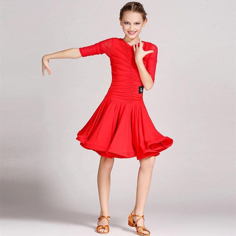 Vestido Rojo Latino para niñas traje de baile para niños vestido de baile para niñas falda latina niños salsa vestidos latina rumba ropa