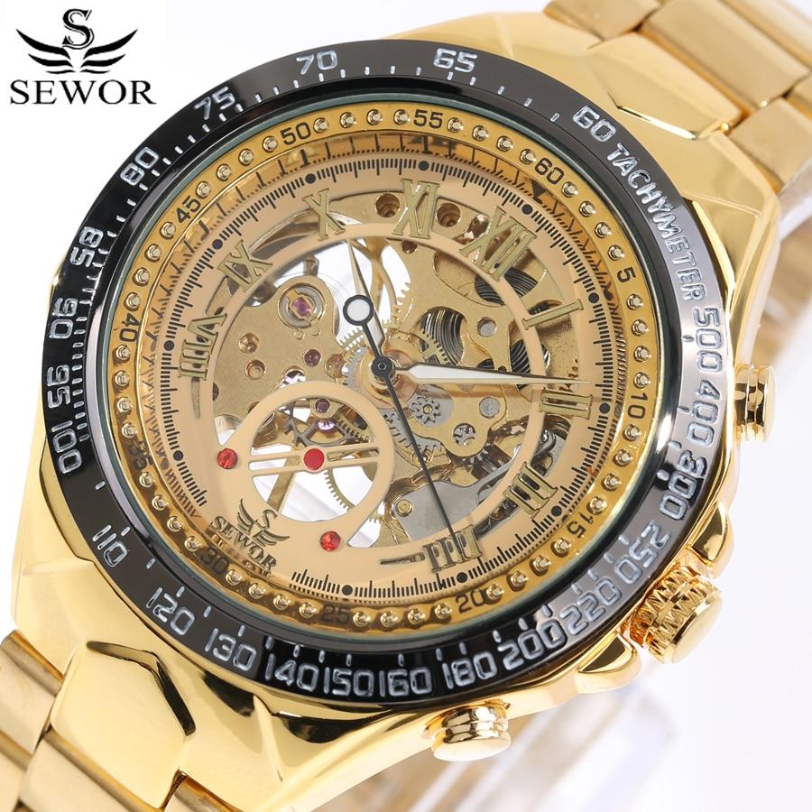 Reloj de lujo SEWOR, reloj de esqueleto mecánico para hombre, reloj de esqueleto de oro, reloj deportivo para hombre con correas de acero inoxidable, reloj 2017