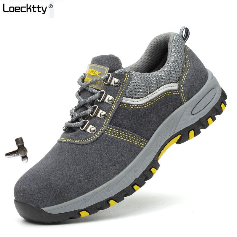 Loecktty marca de aço toecap mulher homem trabalho & segurança botas aço mid sola resistente ao impacto sapatos masculinos macios mais tamanho 46