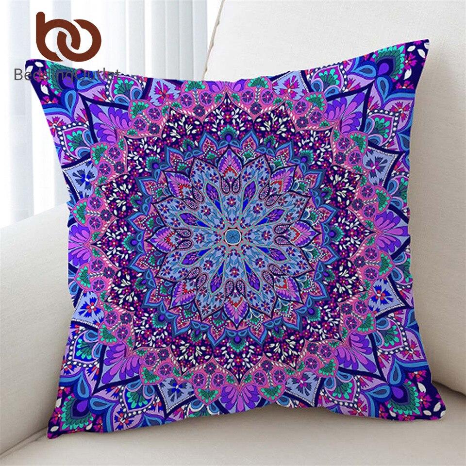 BeddingOutlet funda de cojín con Mandala Boho brillante rosa y púrpura funda de almohada suave de microfibra 45cm x 45cm 70cm x 70cm
