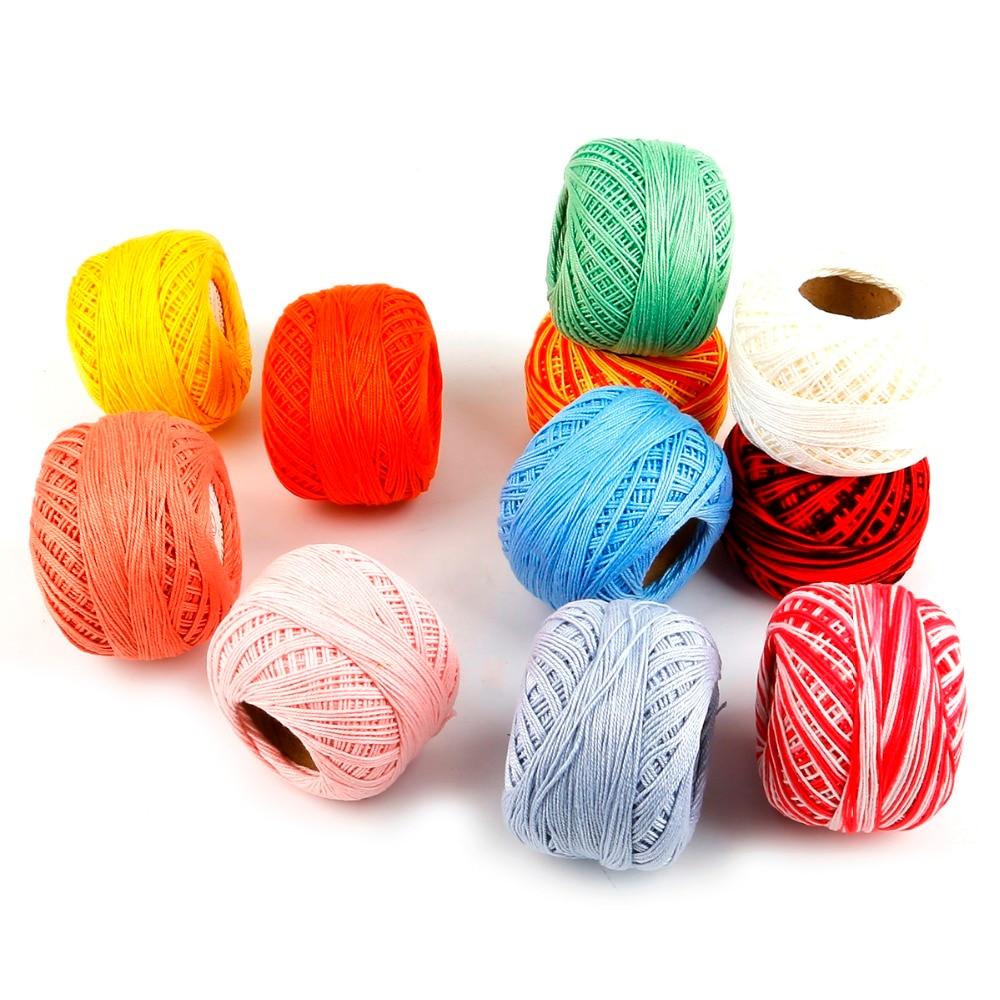Hilo de encaje multicolor, 1 unids/lote, hilo de algodón 100% para ganchillo, ganchillo peinado con hilo fino de 2,5mm, 50g por unidad