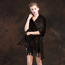 ZY87002 Handmade Ladies' Genuine Natural Knitted Mink Fur Shawls With Tassels Winter Women Fur Wraps Female Stole Outerwear