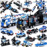 DIY City Police Building Blocks Vehicle Car Helicopter Construction Building Blocks DIY Building Bricks Toys For Children Gift