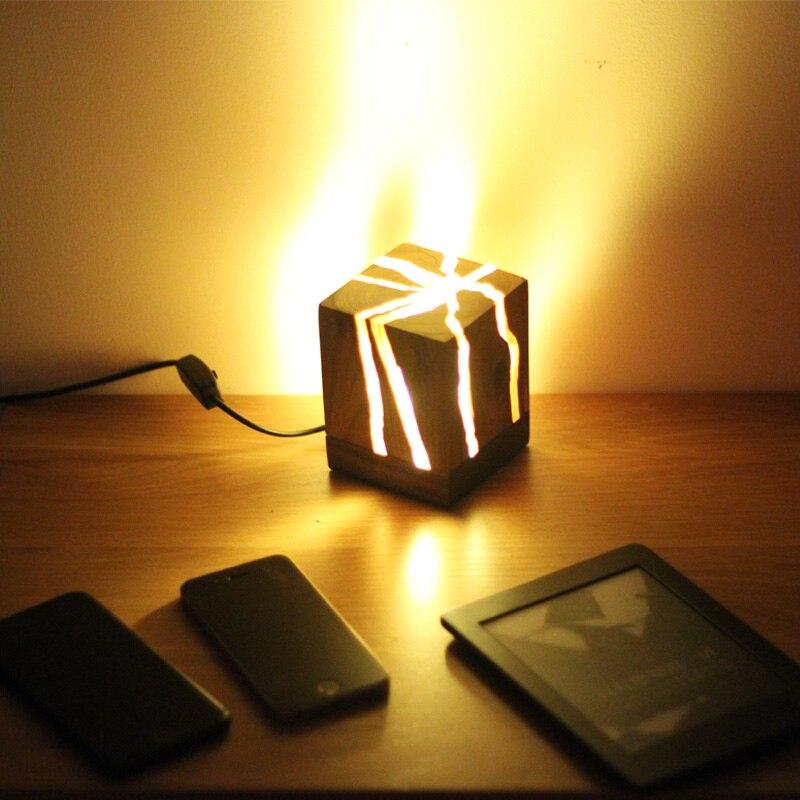 Decoración nórdica de madera de la noche de la luz cuadrada de madera del puerto USB blanco cálido de la lámpara del sueño del bebé niños mesa de noche luces de noche