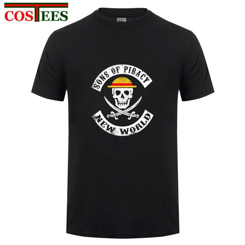 Skull design Anime One Piece Luffy T shirts men manga Sons of piracy t-shirt King Pirate cartoon cheap anarchy Top band clothing