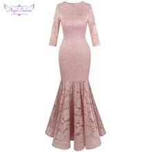 Angel-fashions vrouwen Sheer 3/4 Mouwen Lace Avondjurken Bloemen Mermaid Party Gown Licht Roze 416