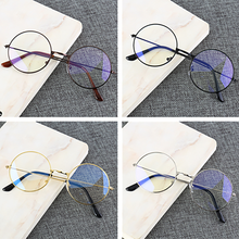Male and Female Round Glasses Ultralight Metal Frame Eyewear Blue Light Anti Blue Rays Radiation Blo
