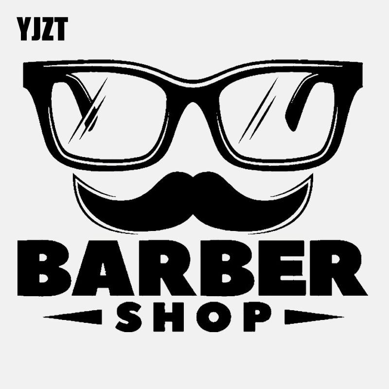 YJZT 12,3 CM * 9,5 CM letrero divertido Barbershop vinilo negro/coche plateado pegatina C22-0153