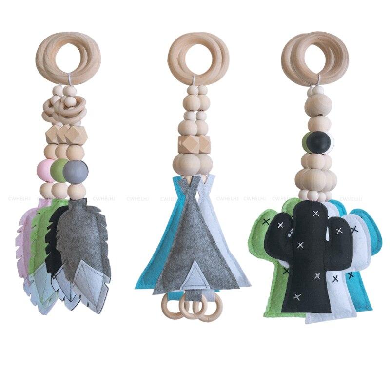 3 piezas nórdicas cuentas de madera ornamentos niños juguetes para bebé pluma Cactus en forma de sala de madera tienda infantil colgante decoración foto accesorios