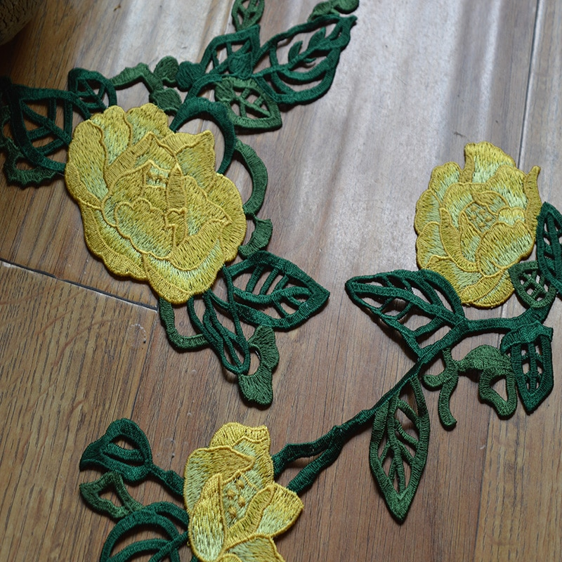 (1 шт./лот) желтый цветок зеленый лист патчи Свадебная вышивка кружева патч шитье Кружева Аппликация 201682121