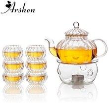 Arshen service à thé en forme de citrouille   Service de théière en verre thermorésistant, ensemble de théière de 600ML théière infuseur avec 6 pièces et tasses à thé à Double paroi