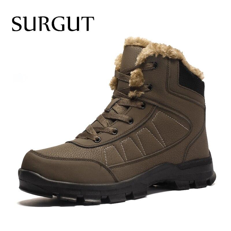 Marca SURGUT, invierno, botas de trabajo antideslizantes para hombre, felpa, mantienen el calor, resistentes al agua, más botas de nieve de piel, Zapatillas para hombre, zapatos, talla grande 39-47