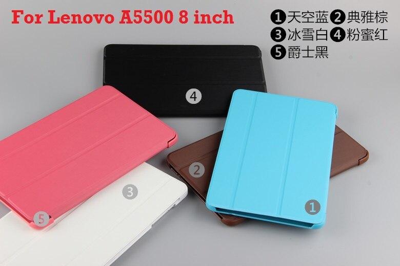 Para Lenovo A5500 funda original estilo inteligente plegable funda para Lenovo Idea Tab A8-50 A5500 8 pulgadas tablet + pluma