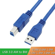 USB3.0 Printer Kabel USB 3.0 A Male AM naar USB 3.0 B Type Man BM USB3.0 Kabel 0.3M 0.6M 1M 1.5M 1.8M 3M 5M Meter