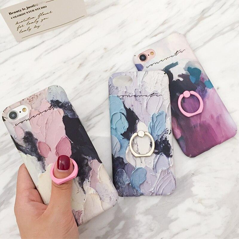 360 anillo de teléfono para la caja de la iPhone 6S 3D pintura al óleo caja colorida del soporte de la representación para el iPhone 7 8 Plus X XS MAX para la caja del iPhone XS