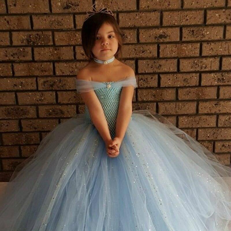 Блестящее светло-синее Тюлевое вечернее платье-пачка для девочек, великолепное синее блестящее бальное платье, детское платье для девочек, ...