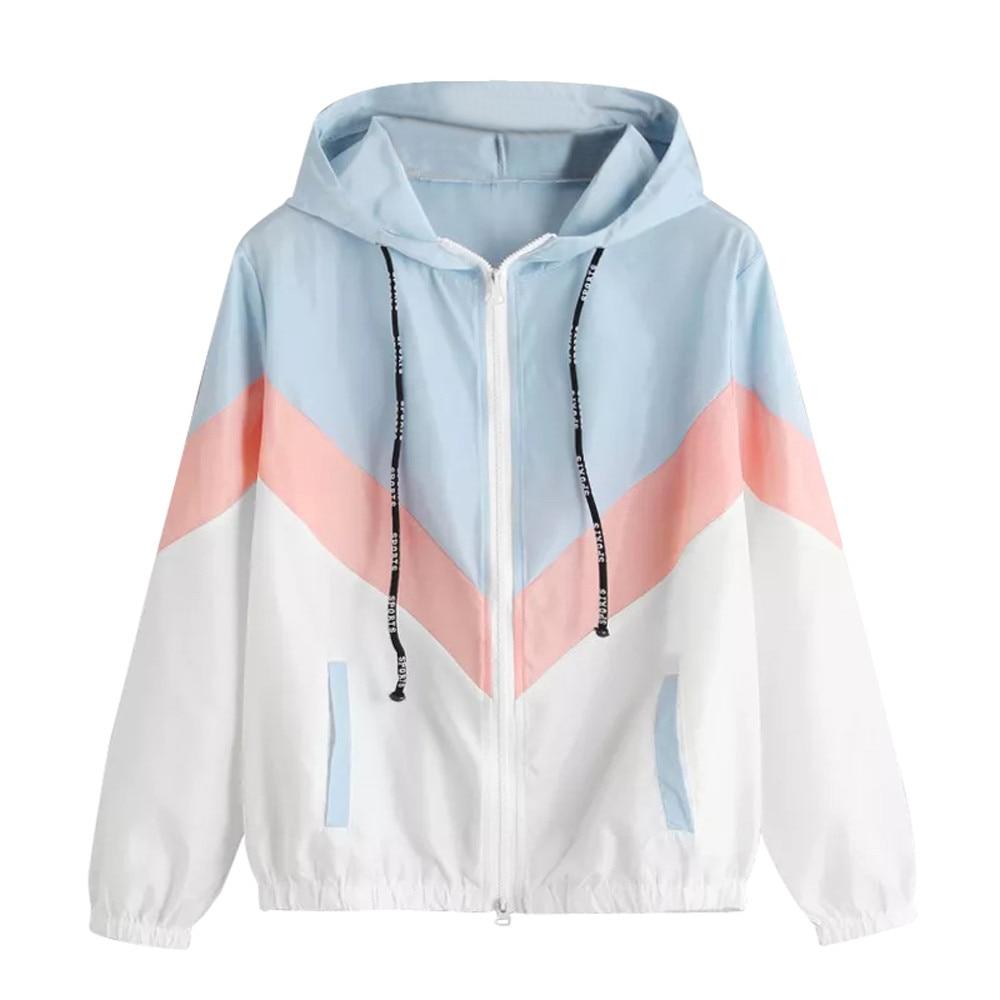 Chaqueta de manga larga con capucha para Mujer, Abrigo deportivo informal con...
