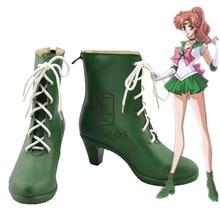Anime marin lune marin Jupiter vert Cosplay chaussures bottes taille personnalisée