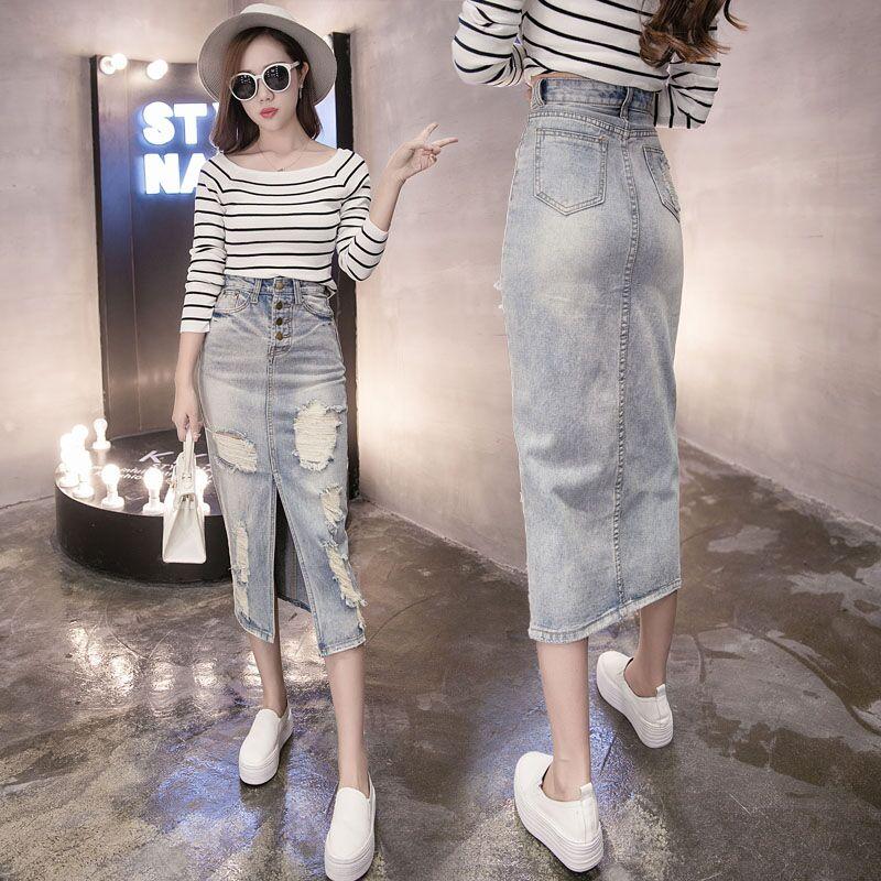 spring fashion high-waist denim skirts women's slim long paragraph skirt Before sexy split holes package hip skits