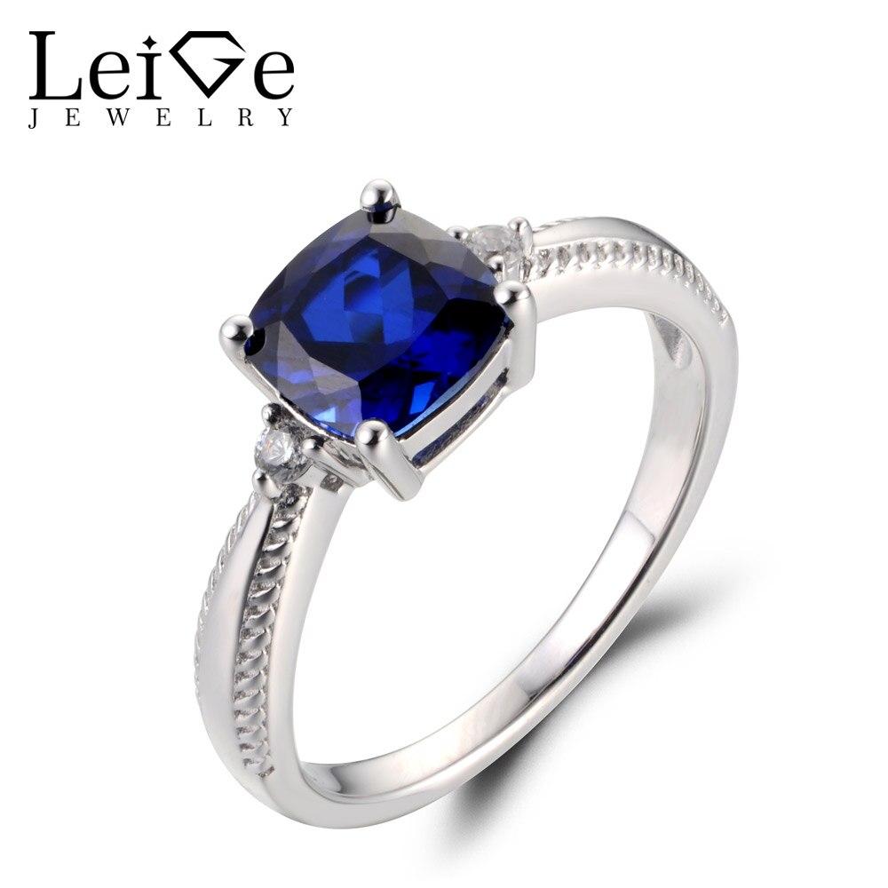 Leige Lab Jóias Blue Sapphire Gemstone Almofada Corte De Setembro Birthstone Prong definir Carve Anéis de Noivado Para A Mulher