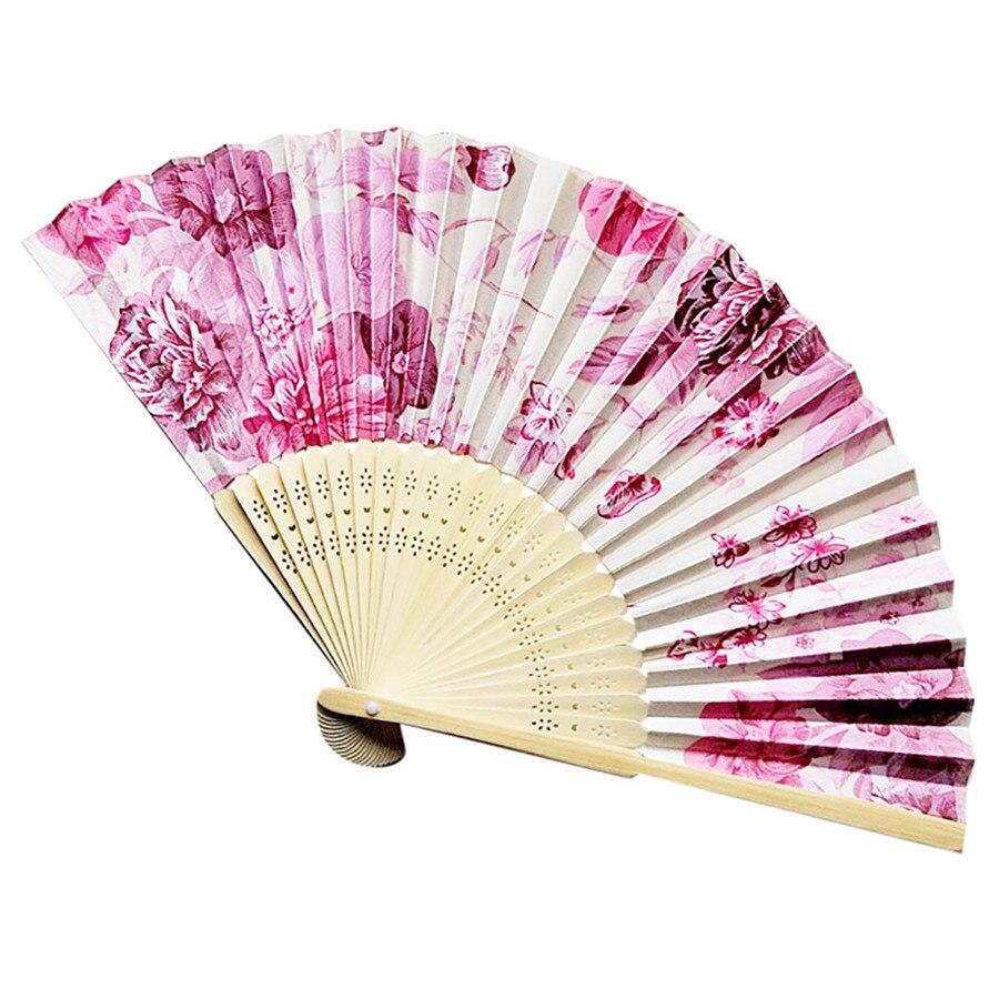 Vintage Bambus Klapp Hand Blume Fan Chinesischen Tanz Party Tasche Geschenke Falten Hand Blume Fan Dropshipping September #1