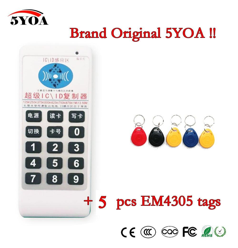 5YOA ручной Дубликатор 125 кГц-13,56 МГц RFID ID IC Card, считыватель, запись, копир, 5 шт. 125 кГц EM4305 тегов