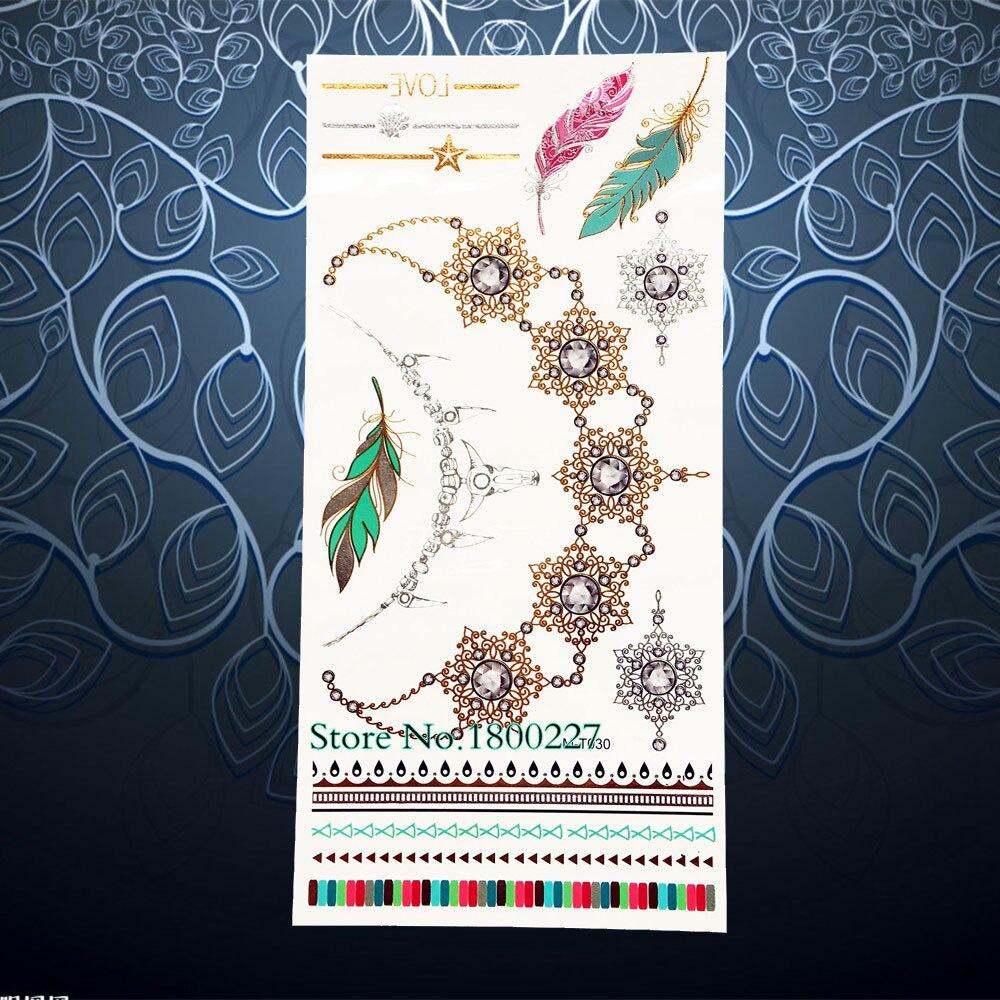 Tatuaje oro impermeable gargantilla arte corporal para mujer tatuaje para brazo collar joyería pegatina 21x10CM gema diamante maquillaje tatuaje Henna pulsera