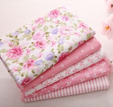 Tissu Africain 5 PCS 40cm*50cm Pink Quilting 100% Cotton Fabric Flowers Telas Patchwork Algodon Sewing Tilda  Fat Quarter